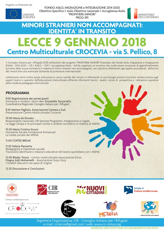 Lecce Tuesday 9 January The CIR Organizes Meeting Minor Unaccompanied Foreigners Identities In Transit Within Project Frontiers
